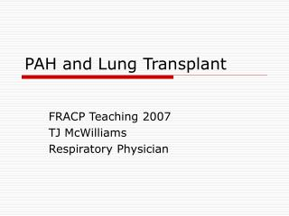 PAH and Lung Transplant