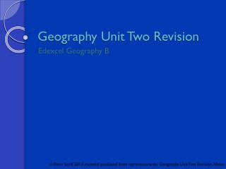 Geography Unit Two Revision