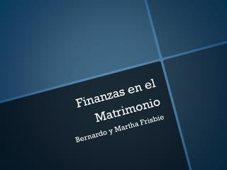 Finanzas en el Matrimonio