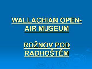 WALLACHIAN OPEN-AIR MUSEUM ROŽNOV POD RADHOŠTĚM