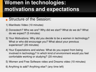 Women in technologies: motivations and expectations