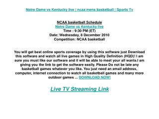 Notre Dame vs Kentucky live | ncaa mens basketball | Sports