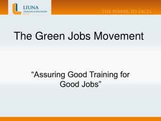 The Green Jobs Movement