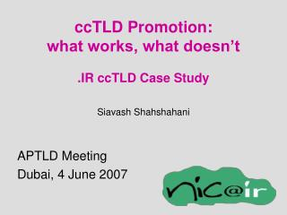 ccTLD Promotion: what works, what doesn't