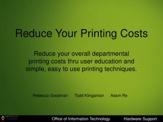 Reduce Your Printing Costs