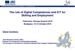 The role of Digital Competences and ICT for  Skilling and Employment