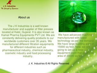 Presentation on Filter Press by J K Industries