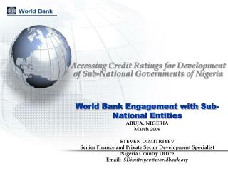 Accessing Credit Ratings for Development of Sub-National Governments of Nigeria