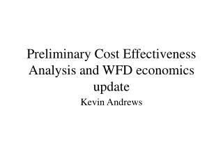 Preliminary Cost Effectiveness Analysis and WFD economics update