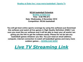 Bradley at Duke live | ncaa mens basketball | Sports Tv