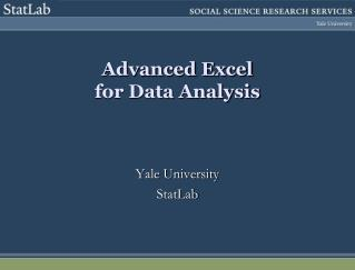 Advanced Excel  for Data Analysis