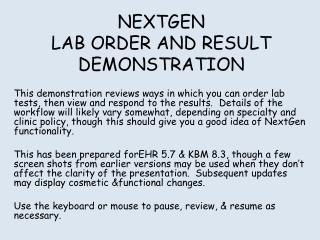 NEXTGEN LAB ORDER AND RESULT DEMONSTRATION