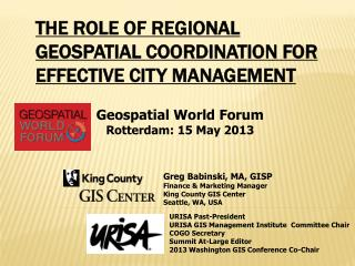 The Role of Regional Geospatial Coordination for Effective City Management