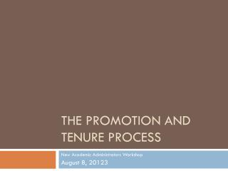 The promotion and tenure process