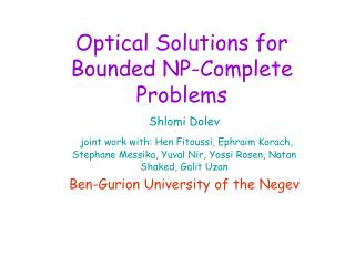 Optical Solutions for Bounded NP-Complete Problems