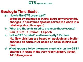 GTS  (update your  ToC ) Geologic Time Scale :   How is the GTS organized?