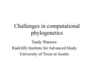 Challenges in computational phylogenetics