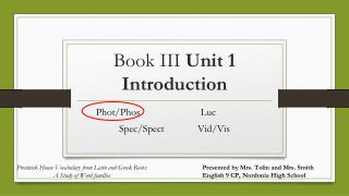 Book III  Unit 1 Introduction