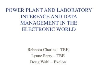 POWER PLANT AND LABORATORY INTERFACE AND DATA MANAGEMENT IN THE ELECTRONIC WORLD