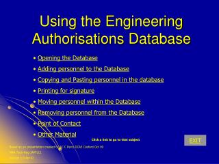 Using the Engineering Authorisations Database