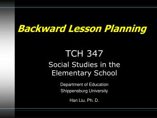 Backward Lesson Planning