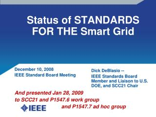 Status of STANDARDS FOR THE Smart Grid