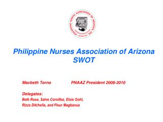 Philippine Nurses Association of Arizona SWOT