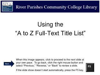 "Using the  ""A to Z Full-Text Title List"""