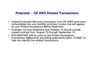 Polaristar   GE AWS Related Transactions