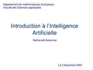 Introduction à l'Intelligence Artificielle