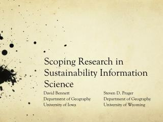 Scoping Research in Sustainability Information Science