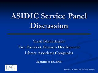ASIDIC Service Panel Discussion