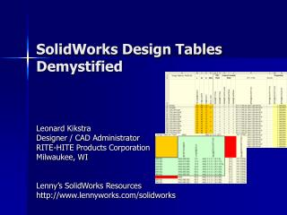 SolidWorks Design Tables Demystified