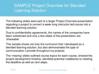 SAMPLE Project Overview for Blended Learning Solution