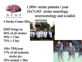 1,000+ stroke patients / year 24x7x365  stroke neurology, 	neurosonology and n.radiol 	services