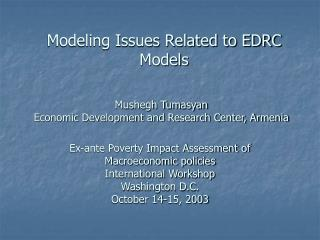 Modeling Issues Related to EDRC Models