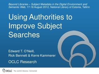 Using Authorities to Improve Subject Searches
