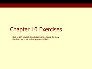 Chapter 10 Exercises