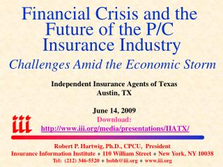 Financial Crisis and the Future of the P/C  Insurance Industry  Challenges Amid the Economic Storm