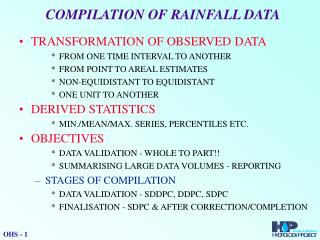 COMPILATION OF RAINFALL DATA