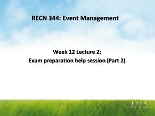 RECN 344: Event Management