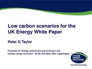 Low carbon scenarios for the  UK Energy White Paper