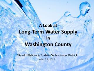 A Look at Long-Term Water Supply in Washington County
