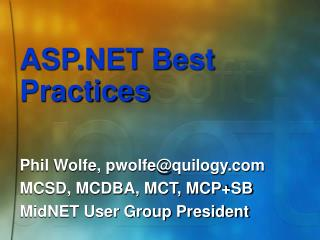 ASP.NET Best Practices