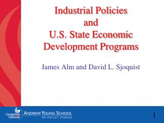Industrial Policies  and  U.S. State Economic Development Programs