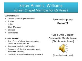 Sister Annie L. Williams {Greer Chapel Member for 65 Years}