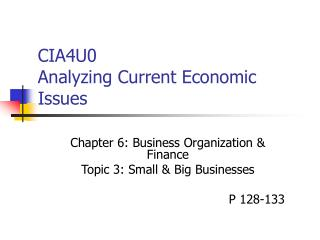 CIA4U0 Analyzing Current Economic Issues