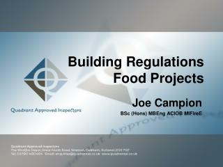 Building Regulations Food Projects