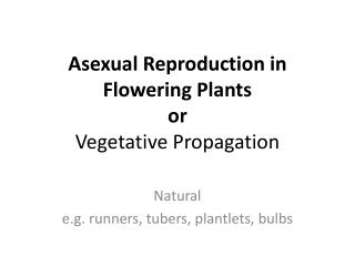 Asexual Reproduction in Flowering Plants or Vegetative Propagation