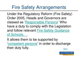 Fire Safety Arrangements
